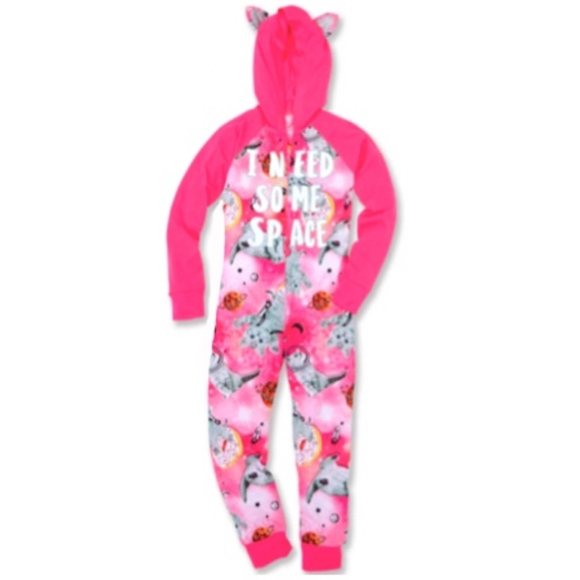 NWT Justice Girls Cozy Leopard Pajama Set w// Kitty Ears Size 8 or 10!